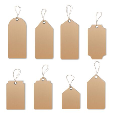 Realistic textured sell tags with ropes. Vector.  イラスト・ベクター素材