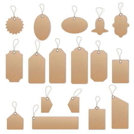 Price tags on white background.