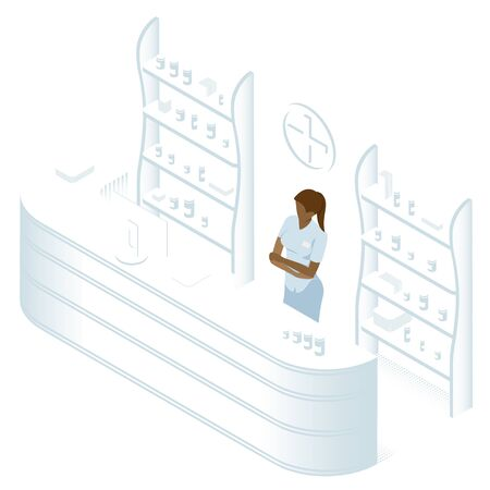 Isometric Pharmacy Store and Doctor pharmacist. Vector