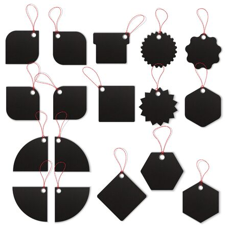 Price tags on white background. Realistic textured sell tags with ropes. Vector