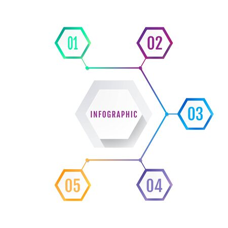 Modern Hexagon Business Infographic Design Template. Vector.  イラスト・ベクター素材