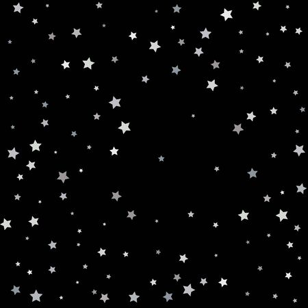 Silver glitter falling stars. Silver sparkle star on black background. Vector template for New year, Christmas, birthday, party, wedding, card, invitation, flyer, voucher, web, header. Starry confetti