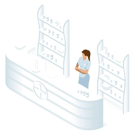Isometric Pharmacy Store and Doctor pharmacist. Woman pharmacist awaiting a customer. The minimum number of colors. Isometric vector illustration isolated on white background. Health Care concept.  イラスト・ベクター素材