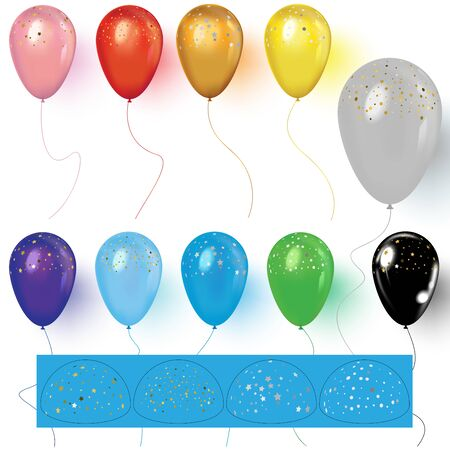 Realistic colorful balloons with confetti. Set of realistic vector colorful balloons. Confetti elements interchangeably