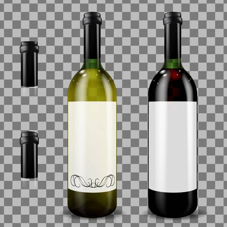 Red and white wine bottles. Realistic mockup. Vector illustration.  イラスト・ベクター素材