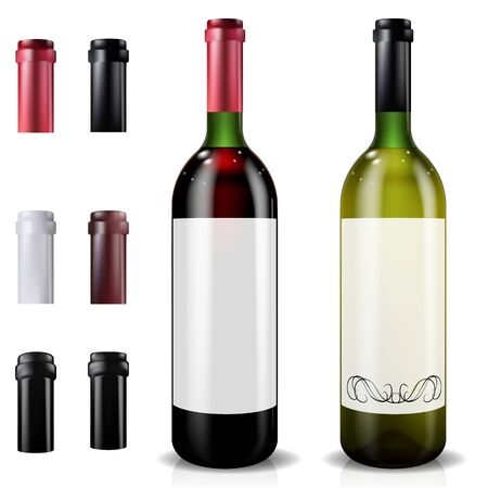 Red and white wine bottles. Set of caps or sleeves, closing the stopper.