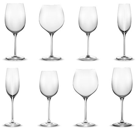 Transparent wine glass set. Wine glasses. Realistic vector