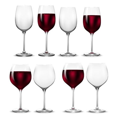 Empty and full transparency wine glass. Vector wine glasses. 3d realism, vector icon.