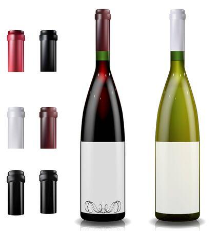 Bouteilles de vin rouge et blanc. Bonnets ou manches, fermeture du bouchon.
