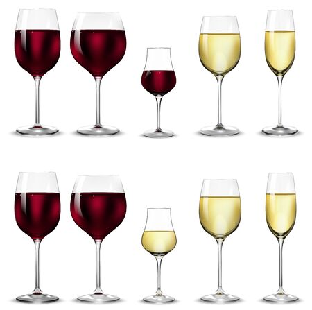 Full and empty glasses for white and red wine. Collection of realistic wine glasses. Vector illustration.