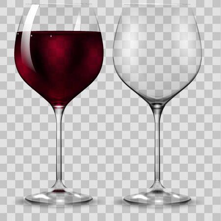 Leeres und volles Transparenz-Rotweinglas. Vektor.