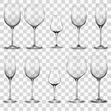 Set of empty wine glasses. Wine glass
