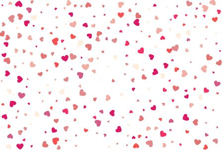 Heart confetti of Valentines petals. Beautiful Confetti Hearts Falling on Background. Invitation Template Background Design, Greeting Card, Poster. Valentine Day and Womens Day. Vector illustration  イラスト・ベクター素材