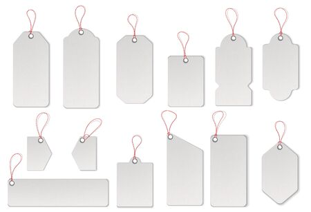 Realistic textured sell tags with ropes. Vector. Illustration