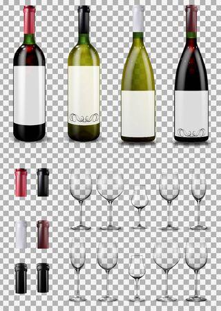 Wine glasses and bottles. Caps closing the stopper bottle.