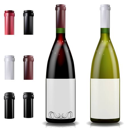 Red and white wine bottles. Caps or sleeves, closing the stopper.