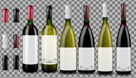 Red and white wine bottles. Realistic mockup.