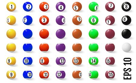 Billiard, pool or snooker balls with numbers isolated on white background, eps10 illustration