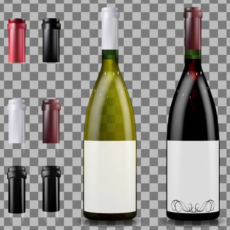 Red and white wine bottles. Caps or sleeves, closing the stopper