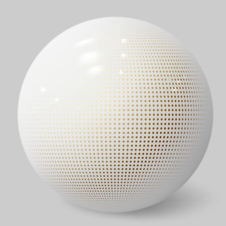 Realistic 3d sphere. White bubble. Ball textured with halftone pattern. Jewelry cover concept. Decoration element for design