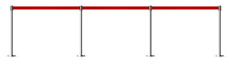 Metal barrier with a belt to control. Vector illustration
