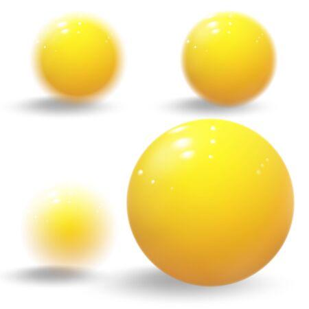 Realistic yellow balls. Yellow blurred glossy spheres.