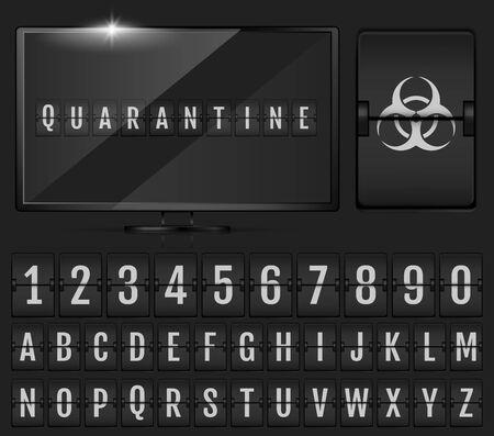 Mechanical Scoreboard Alphabet. Coronavirus Doomsday Alphabet. Ilustración de vector