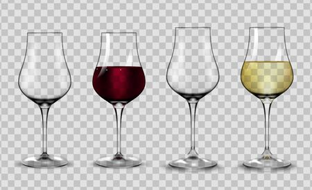 Full and empty glasses for white and red wine.