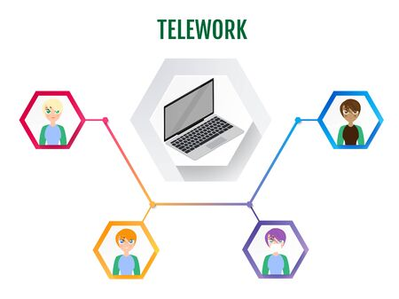 Telework. Remote work as a new work order and lifestyle. Vector infographic.