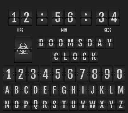 Mechanical Scoreboard Alphabet. Coronavirus Doomsday Alphabet.