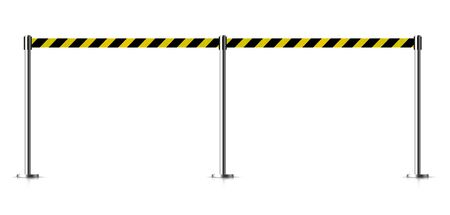 Metal barrier with a belt to control. Vector illustration isolated on white background.