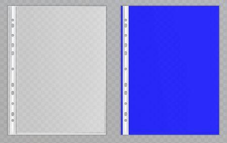 Vector transparent plastic files. Cellophane folders to protect documents Ilustração Vetorial