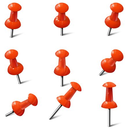 Set of realistic push pins in red color. Thumbtacks