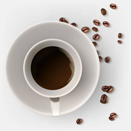 A cup of hot coffee. Coffee beans. 向量圖像
