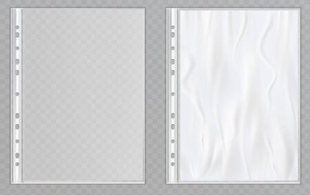 Vector transparent plastic files. Cellophane folders to protect documents