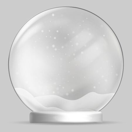 Christmas snow globe on transparent background. Vector illustration. Vectores