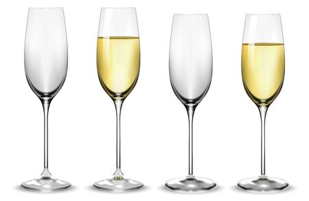 Full and empty white champagne glasses. Vector