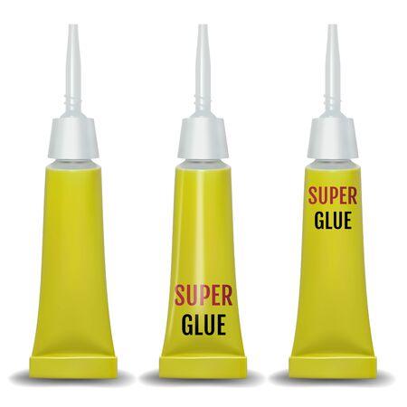 Super glue. 3D realistic metallic container glue . Vector 向量圖像