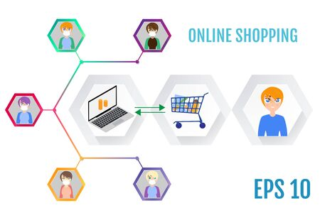 Online shopping. Stay home. Modern life concept 向量圖像