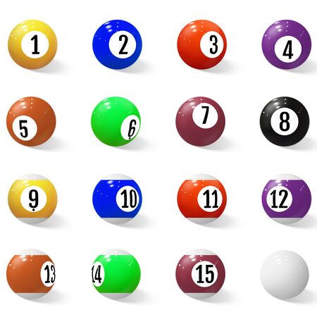 Billiard, pool or snooker balls with numbers. 일러스트