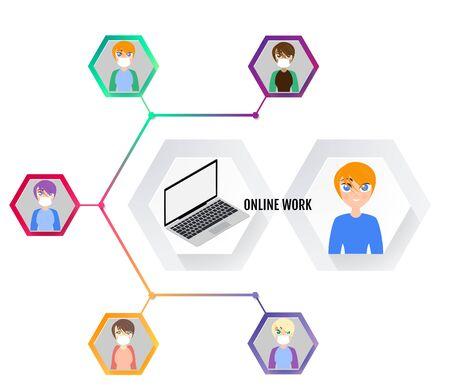 Online conference, Remote work. Online work. 일러스트