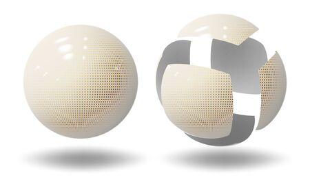 High tech sphere, ball. Micro robot spherical shape. Industrial bubble. Vector