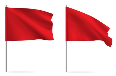 Red clean horizontal waving template flag, isolated on background. Vector flag mockup.