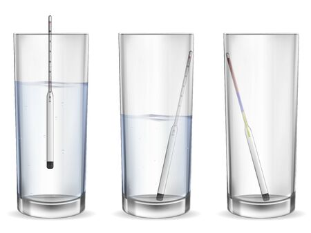 Realistic alcohol meter in a glass. 3D Alcohol meter for measuring the strength of an alcoholic beverage.