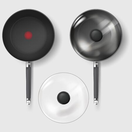 Frying pan with glass lid. Realistic Classic fry pan with glass lid and handle. Realistic texture of the handle and textured non-stick surface. Vector