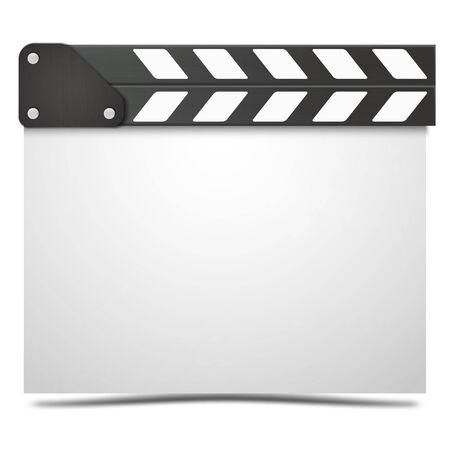 Realistic Movie clapper board. Vector realistic movie clapper slapstick. 일러스트