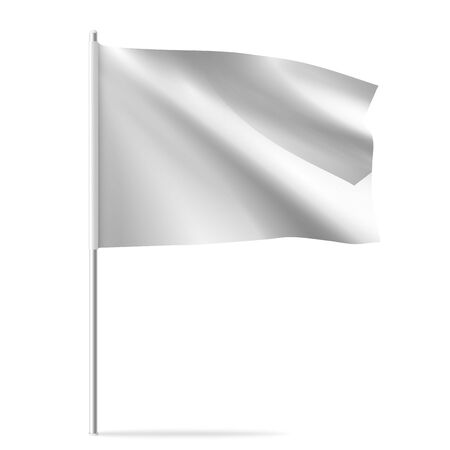 White clean horizontal waving template flag, isolated on background. Vector flag mockup.