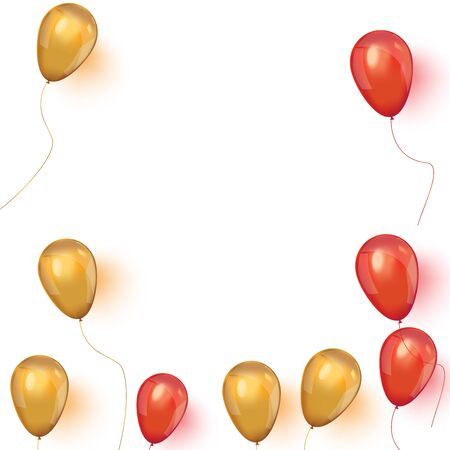 Realistic golden and red ballons. Sale banner with pink and gold floating balloons. Vector illustration.
