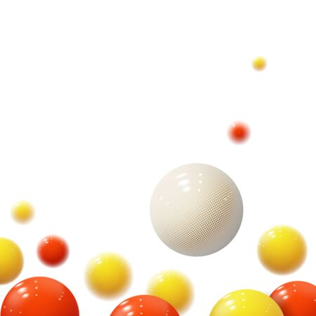 Realistic soft spheres. Plastic bubbles. Glossy balls. 3d geometric shapes, abstract background. Modern cover or annual report concept design. Dynamic banner or wallpaper with balls. Vector template.
