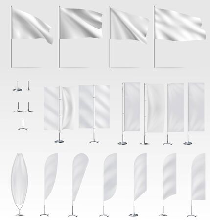 Mockups of white flags, banner flags